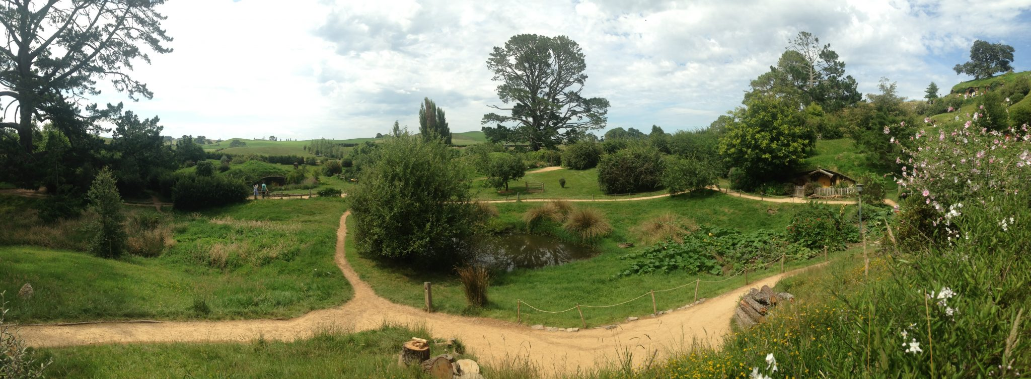Panoramic view of the Shire, Hobbiton Movie Set, New Zealand.