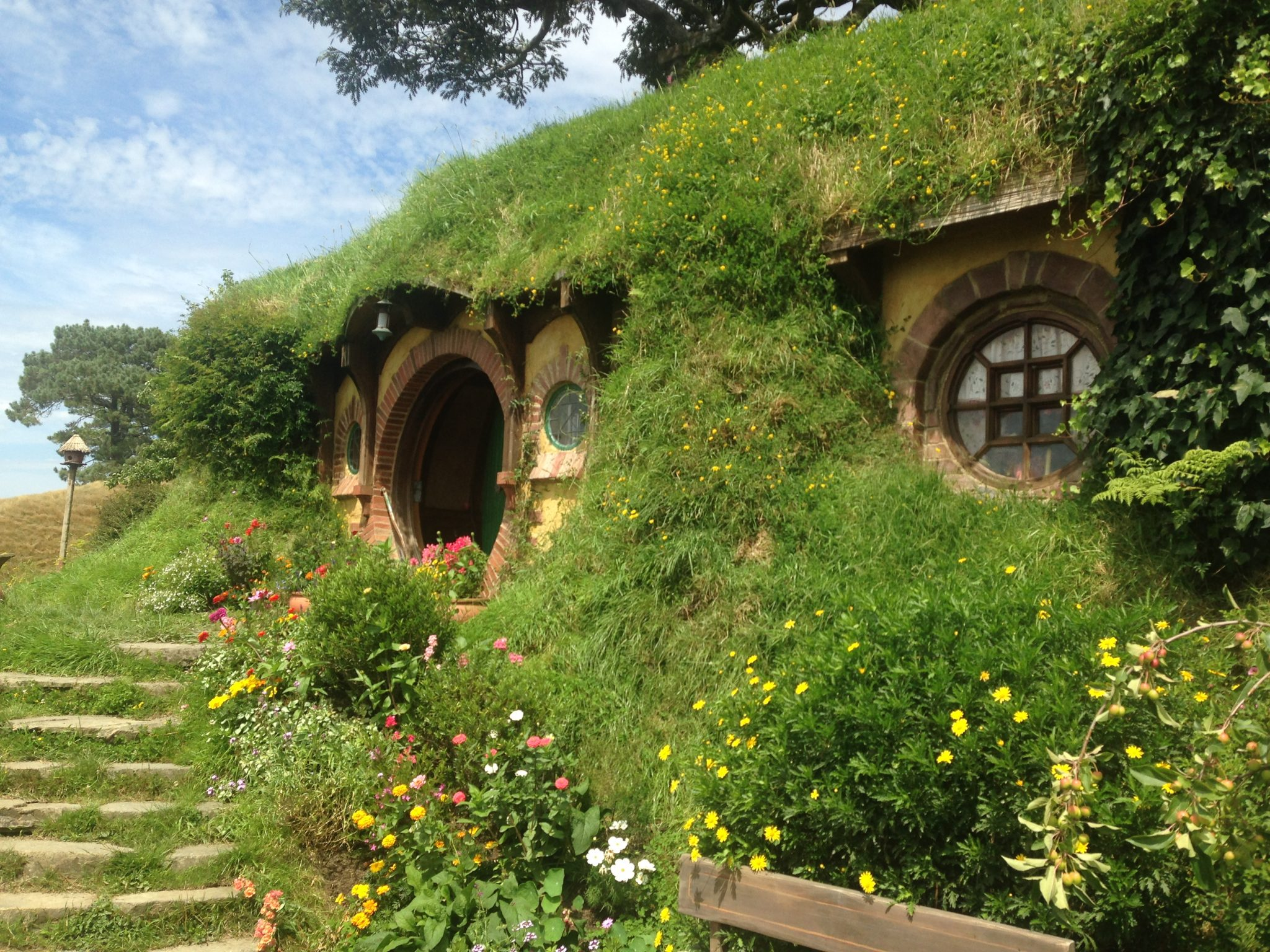 Bilbo Baggins hobbit hole in the Shire, Hobbiton Movie Set, New Zealand.