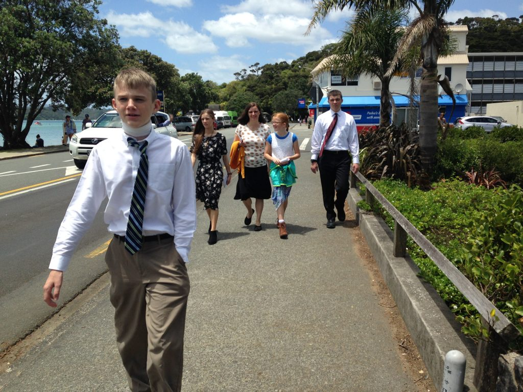 Craze family walking home from church in Paihia, New Zealand.