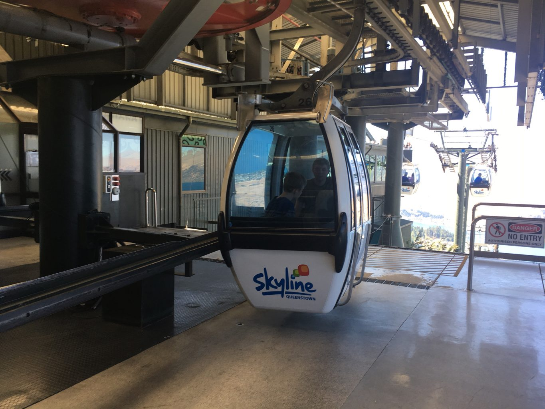 Parker and Carter in the Skyline gondola in Queenstown, New Zealand.