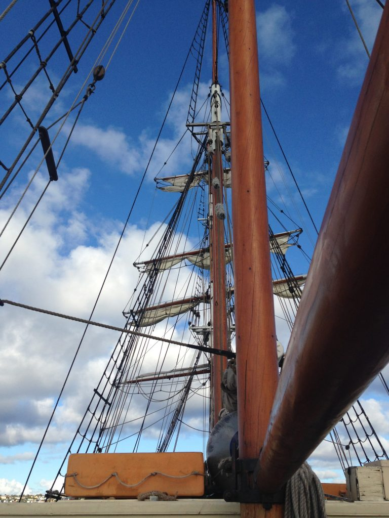 The masts of the Southern Swan in Sydney Harbor.